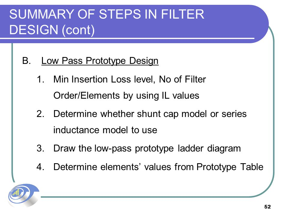 SUMMARY OF STEPS IN FILTER DESIGN (cont)