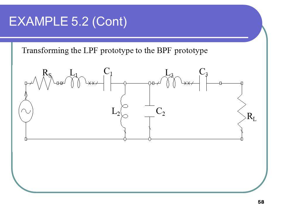 EXAMPLE 5.2 (Cont) RS RL C1 C2 C3 L1 L2 L3