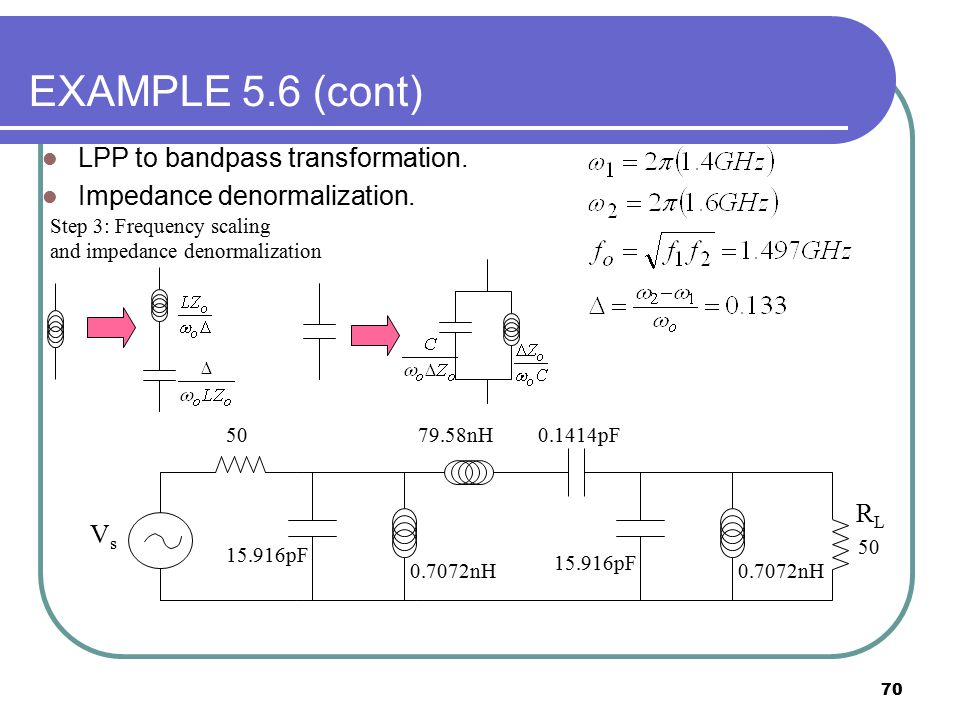 EXAMPLE 5.6 (cont) LPP to bandpass transformation.