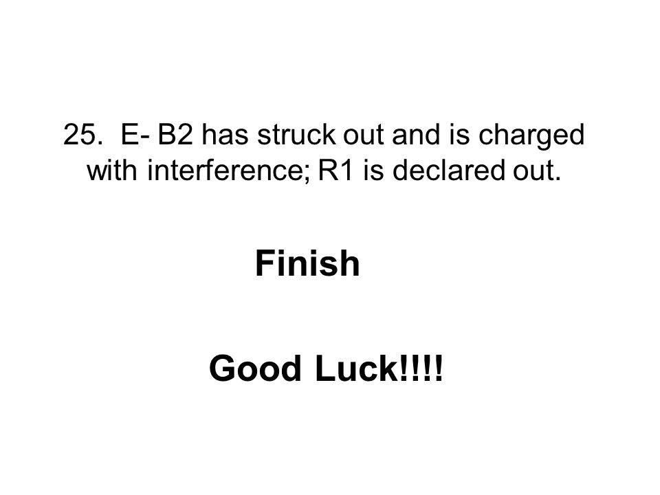 25. E- B2 has struck out and is charged with interference; R1 is declared out.