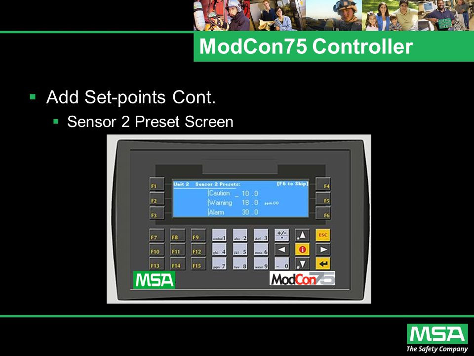 ModCon75 Controller Add Set-points Cont. Sensor 2 Preset Screen