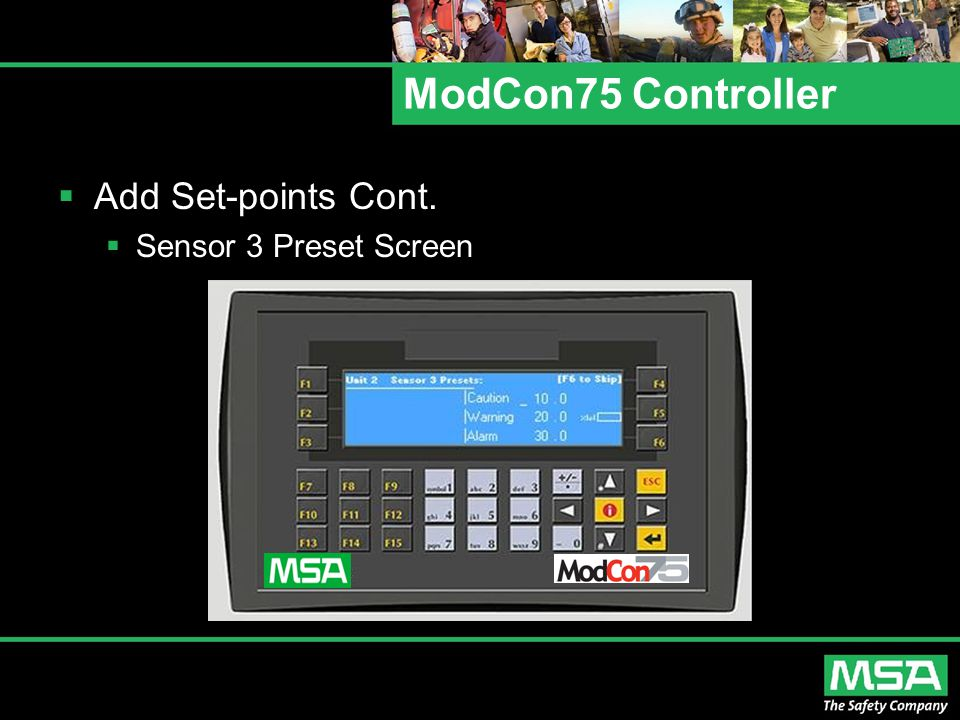 ModCon75 Controller Add Set-points Cont. Sensor 3 Preset Screen