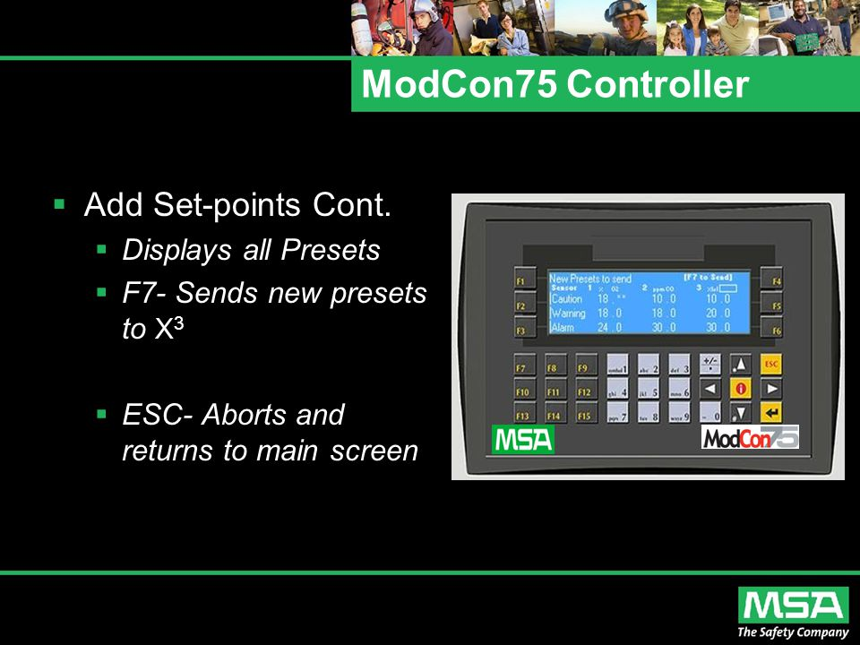 ModCon75 Controller Add Set-points Cont. Displays all Presets