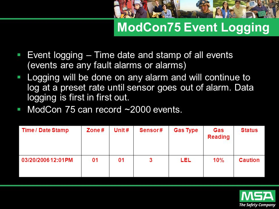 ModCon75 Event Logging Event logging – Time date and stamp of all events (events are any fault alarms or alarms)