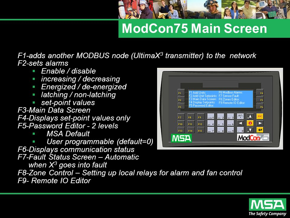 ModCon75 Main Screen F1-adds another MODBUS node (UltimaX3 transmitter) to the network. F2-sets alarms.