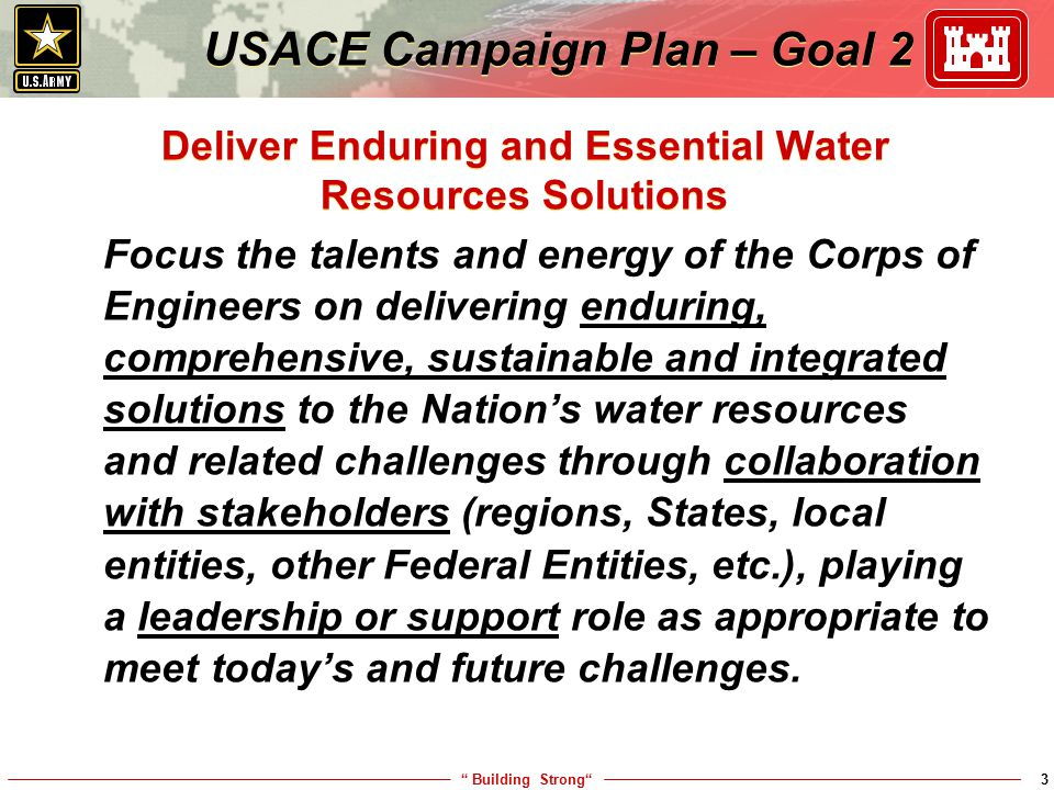 Deliver Enduring and Essential Water Resources Solutions