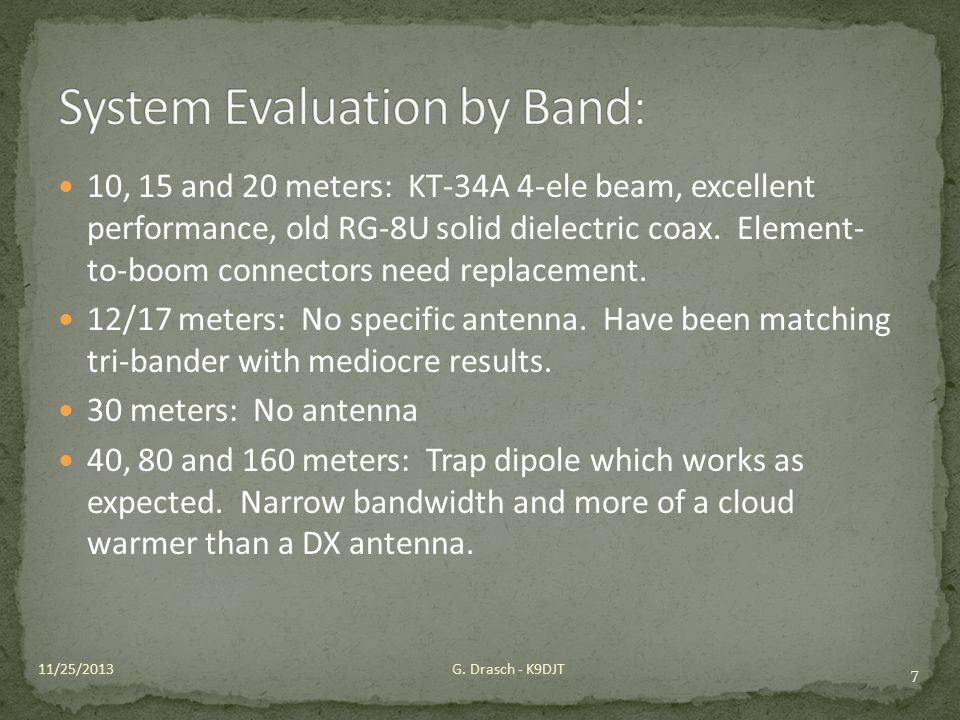 System Evaluation by Band: