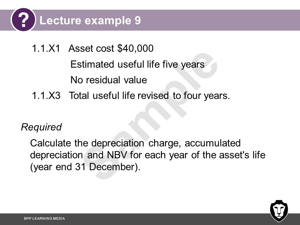 Lecture example 9 1.1.X1 Asset cost $40,000