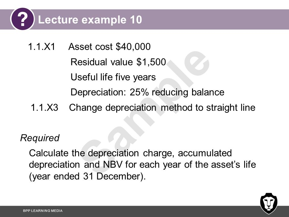 Lecture example 10 1.1.X1 Asset cost $40,000 Residual value $1,500