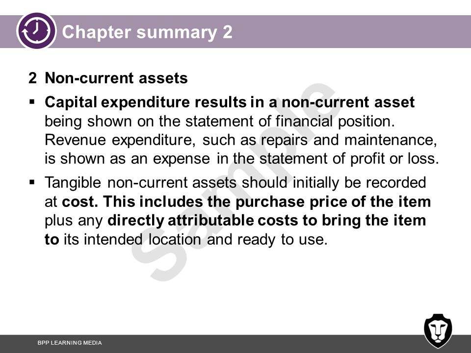 Chapter summary 2 2 Non-current assets