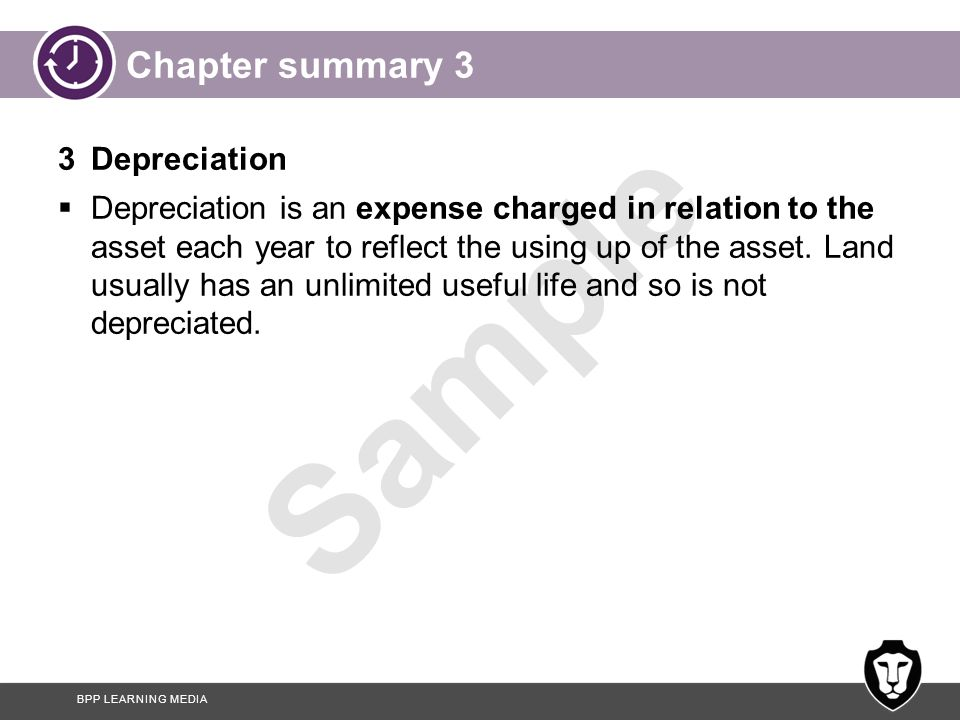 Chapter summary 3 3 Depreciation