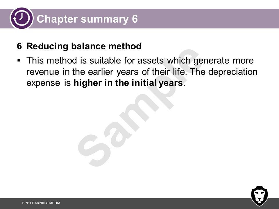 Chapter summary 6 6 Reducing balance method