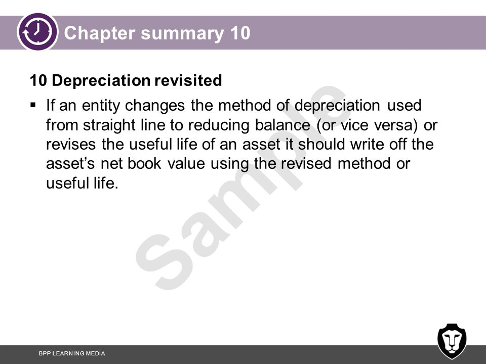 Chapter summary 10 10 Depreciation revisited