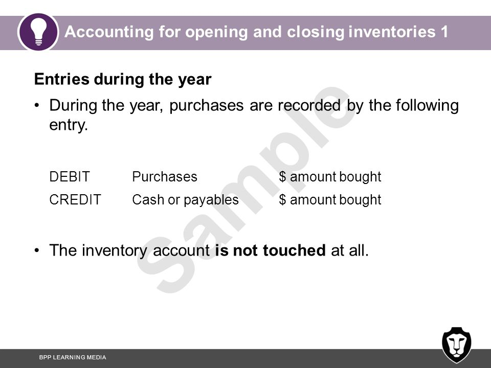 Accounting for opening and closing inventories 1