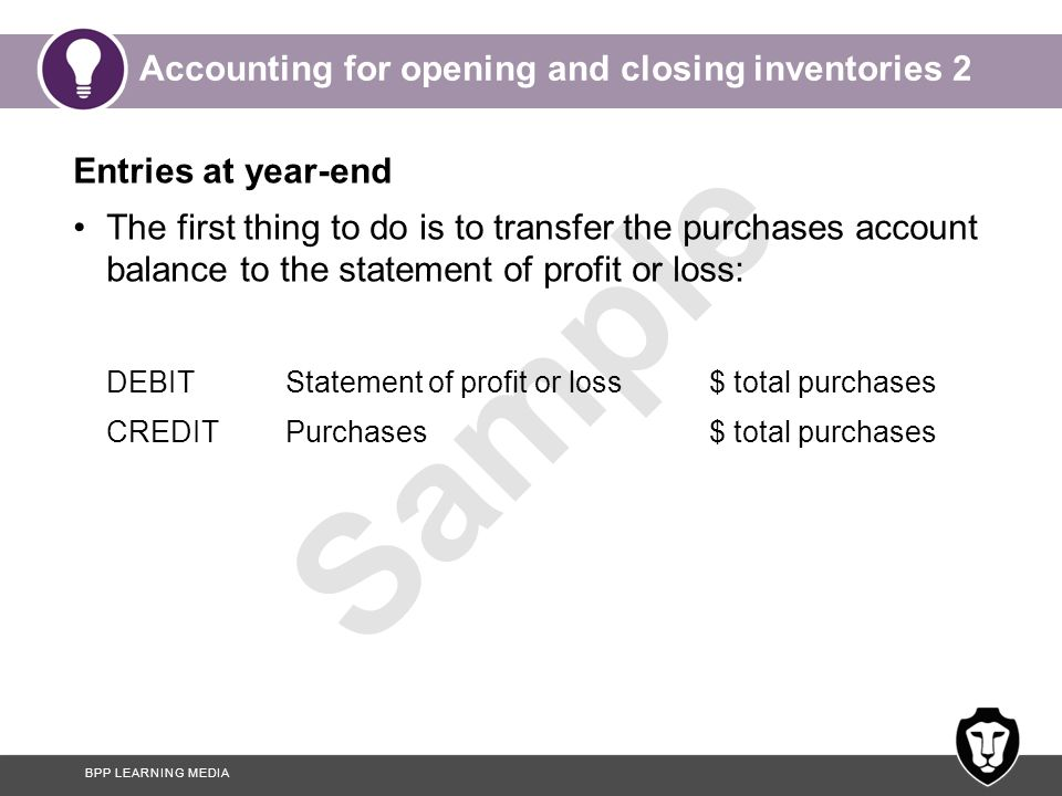 Accounting for opening and closing inventories 2