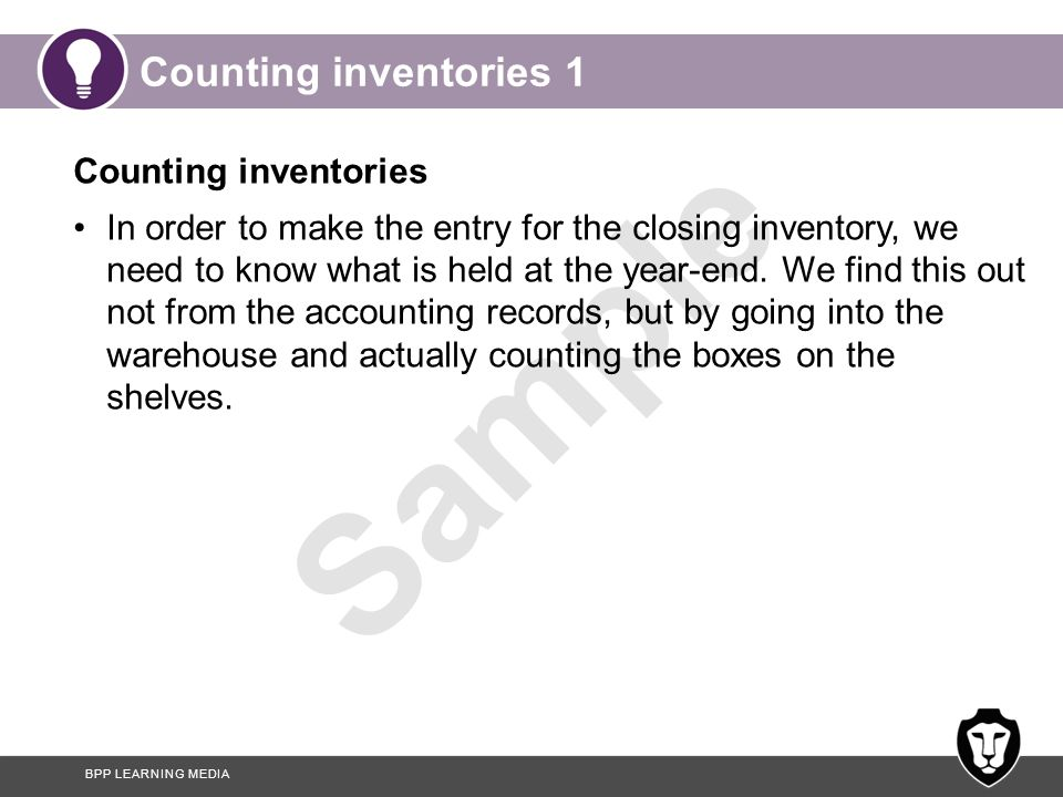 Counting inventories 1 Counting inventories