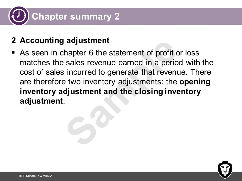 Chapter summary 2 2 Accounting adjustment