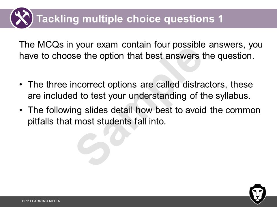Tackling multiple choice questions 1