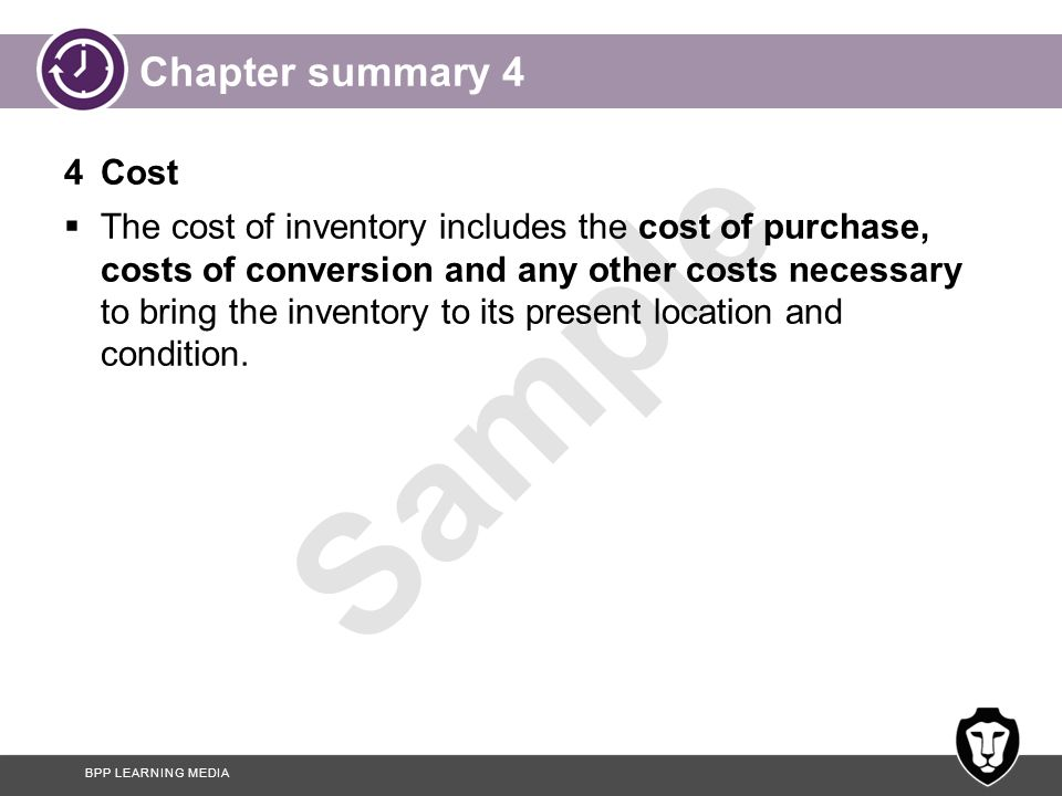Chapter summary 4 4 Cost.