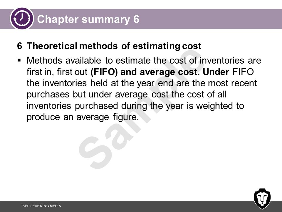 Chapter summary 6 6 Theoretical methods of estimating cost