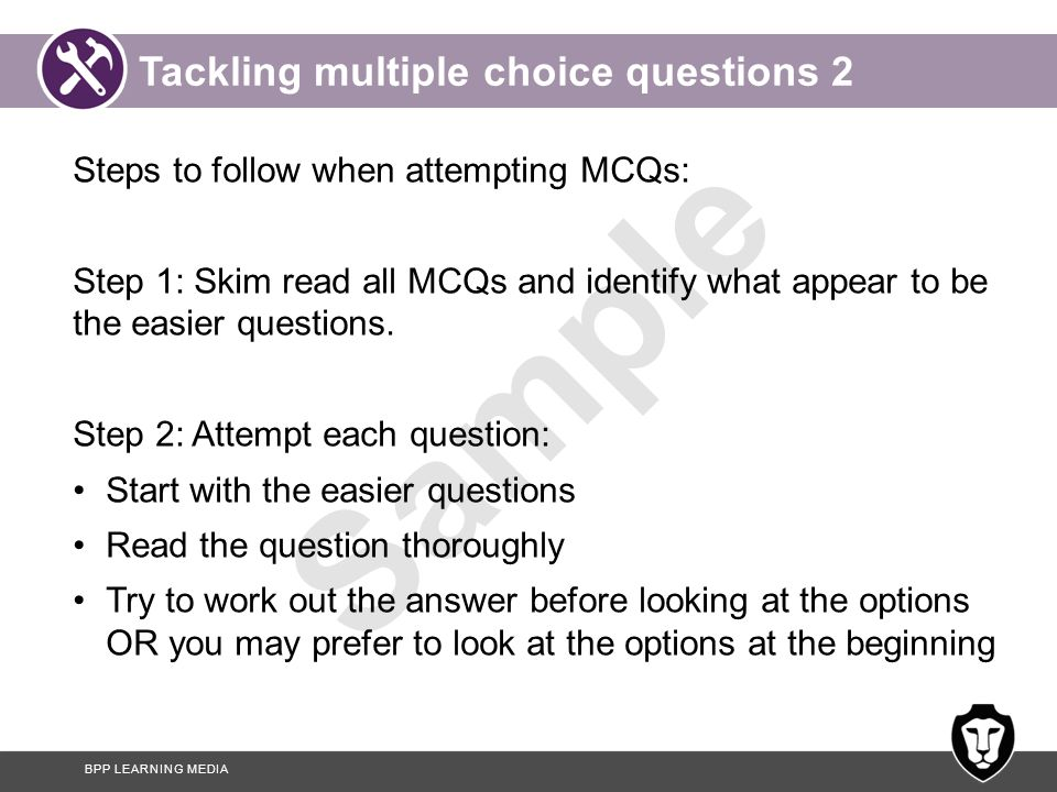 Tackling multiple choice questions 2
