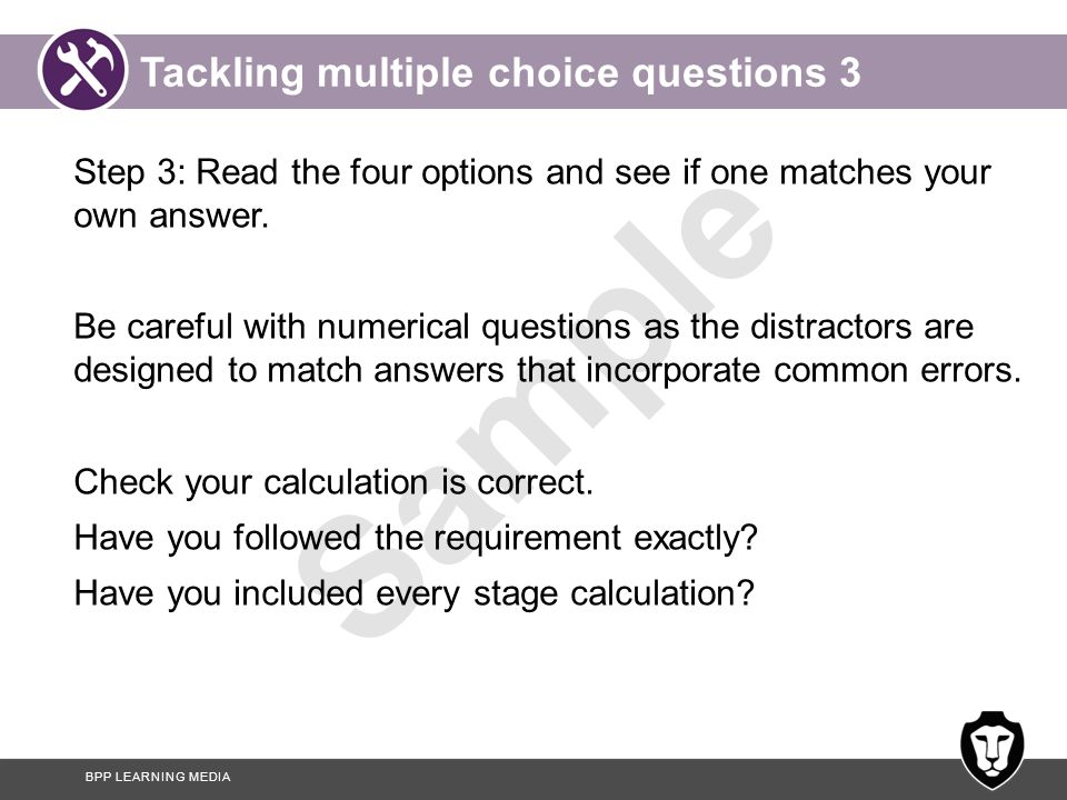 Tackling multiple choice questions 3