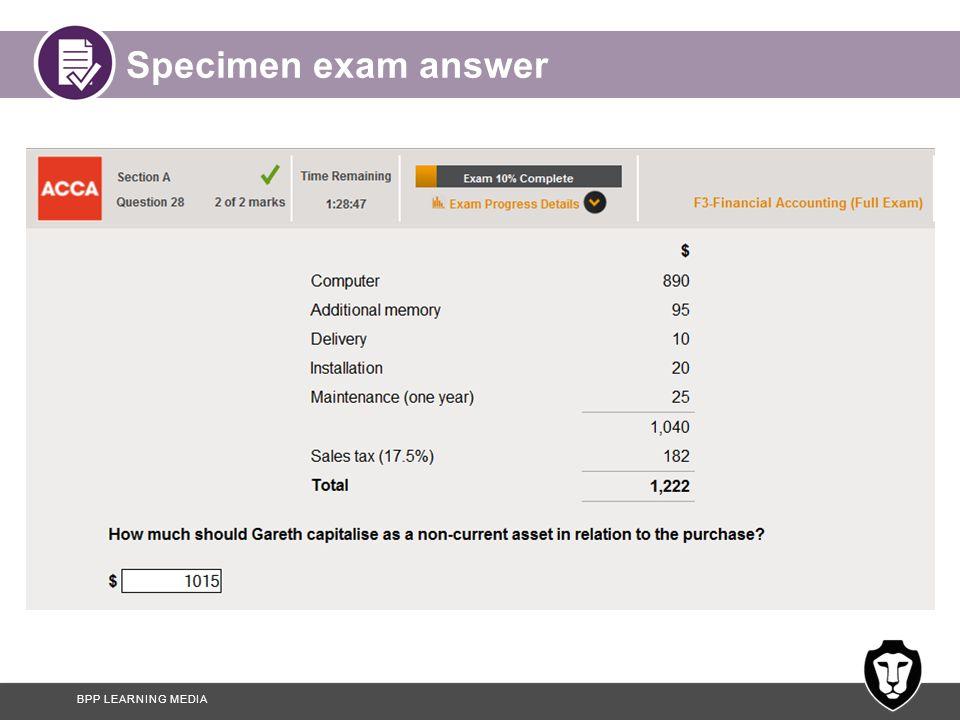 Specimen exam answer