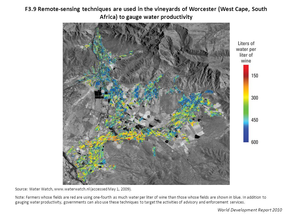 F3.9 Remote-sensing techniques are used in the vineyards of Worcester (West Cape, South Africa) to gauge water productivity