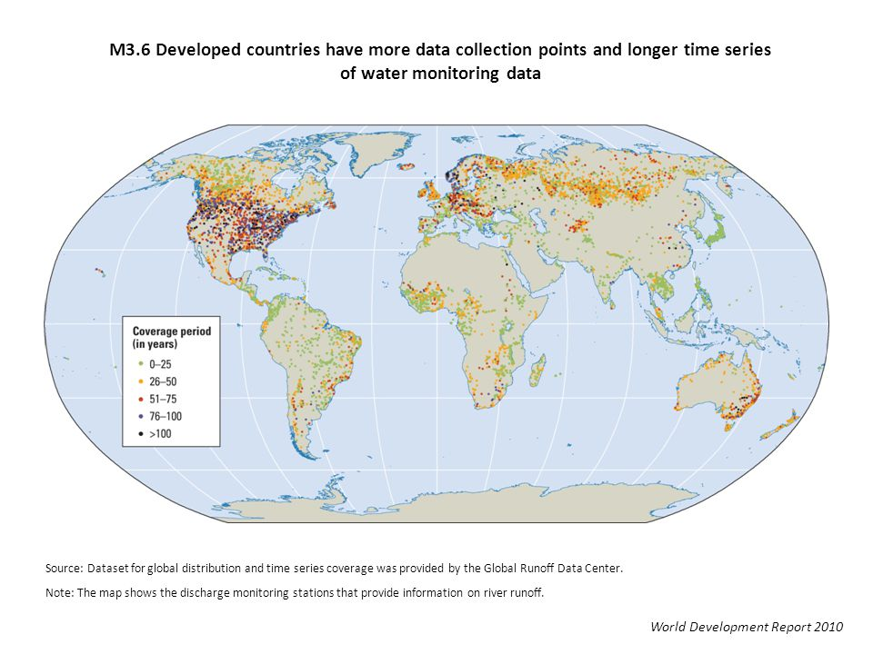 M3.6 Developed countries have more data collection points and longer time series of water monitoring data