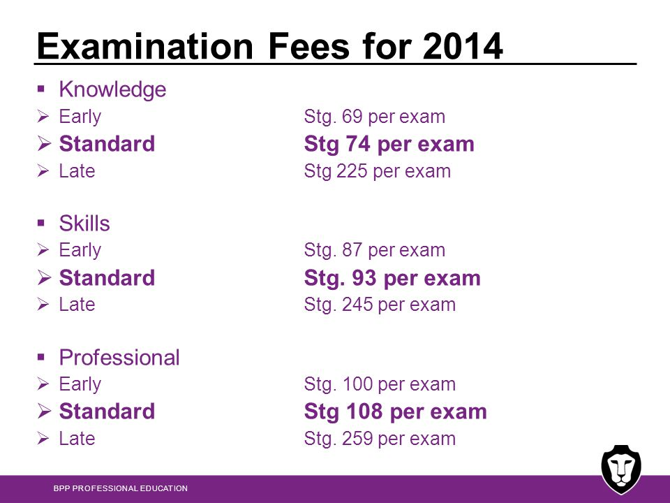 Examination Fees for 2014 Knowledge Standard Stg 74 per exam Skills