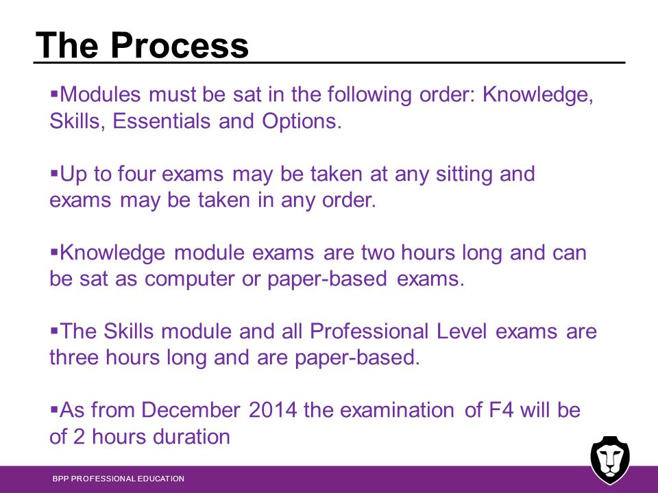 The Process Modules must be sat in the following order: Knowledge, Skills, Essentials and Options.