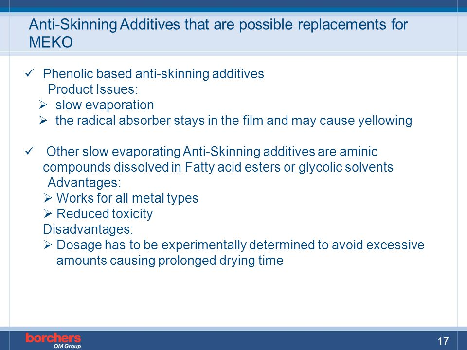 Anti-Skinning Additives that are possible replacements for MEKO