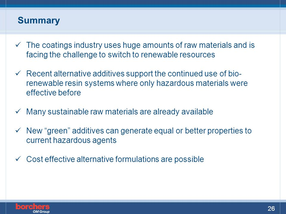 Summary The coatings industry uses huge amounts of raw materials and is facing the challenge to switch to renewable resources.