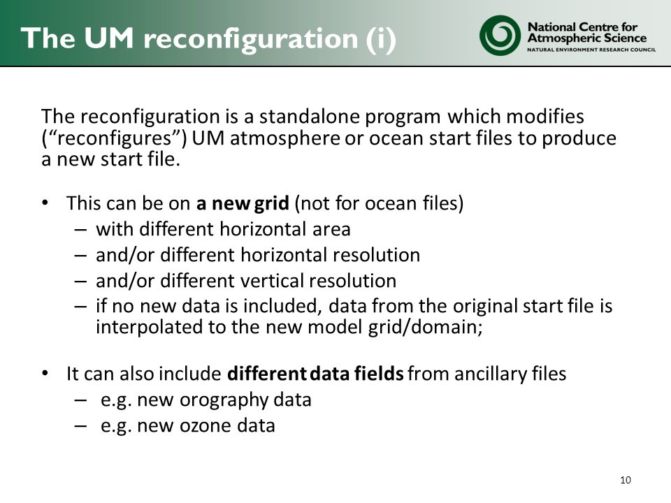 The UM reconfiguration (i)