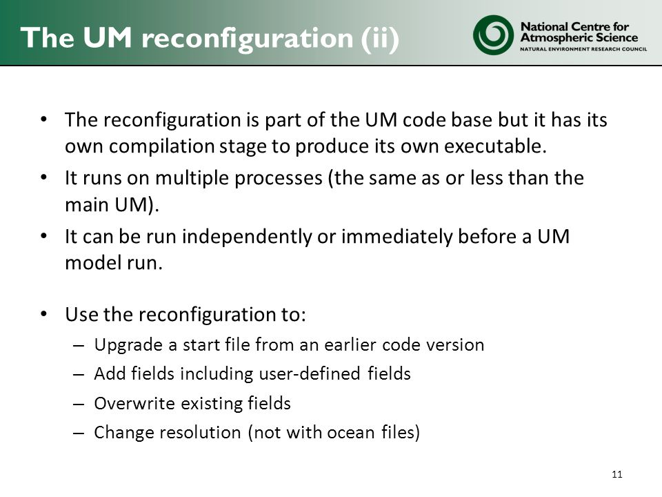 The UM reconfiguration (ii)