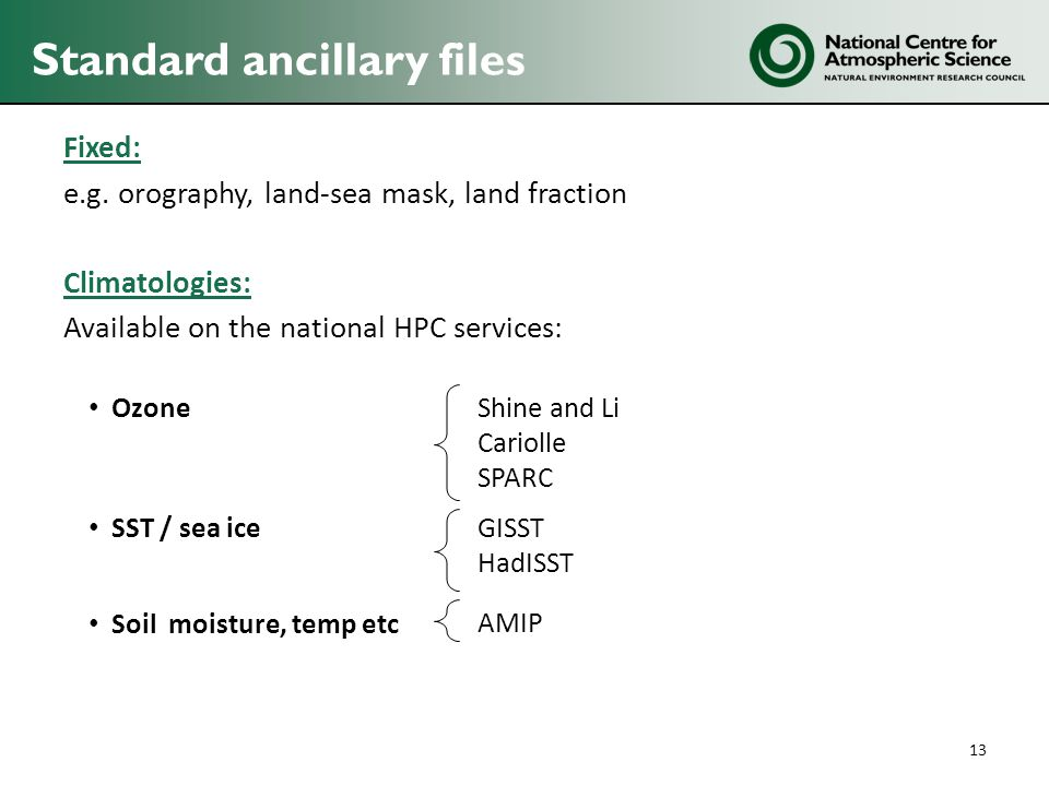 Standard ancillary files