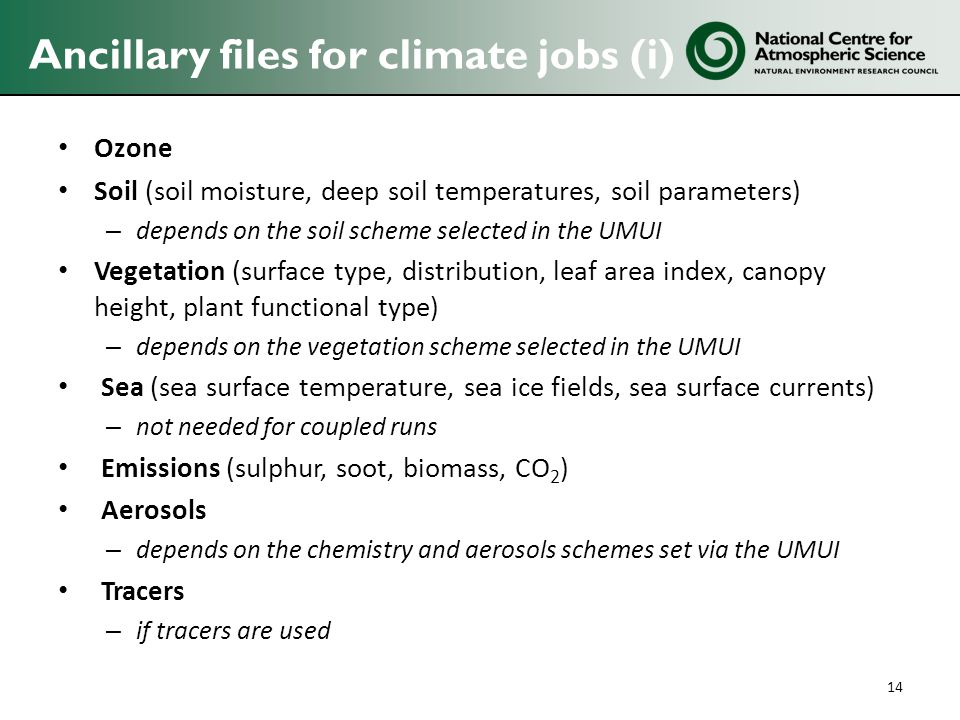 Ancillary files for climate jobs (i)