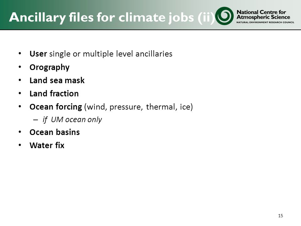 Ancillary files for climate jobs (ii)