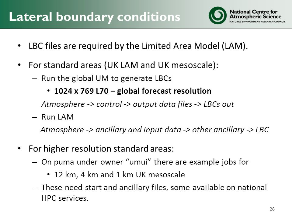 Lateral boundary conditions