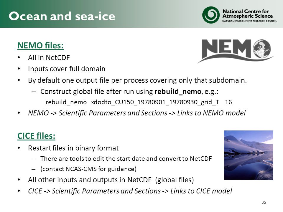 Ocean and sea-ice NEMO files: CICE files: All in NetCDF