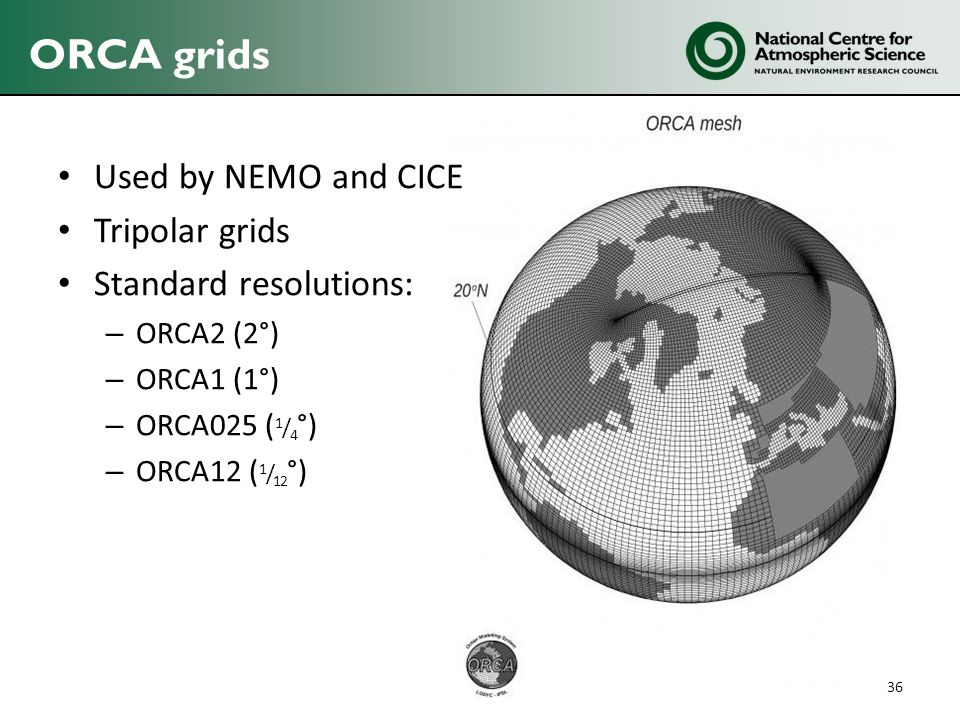 ORCA grids Used by NEMO and CICE Tripolar grids Standard resolutions: