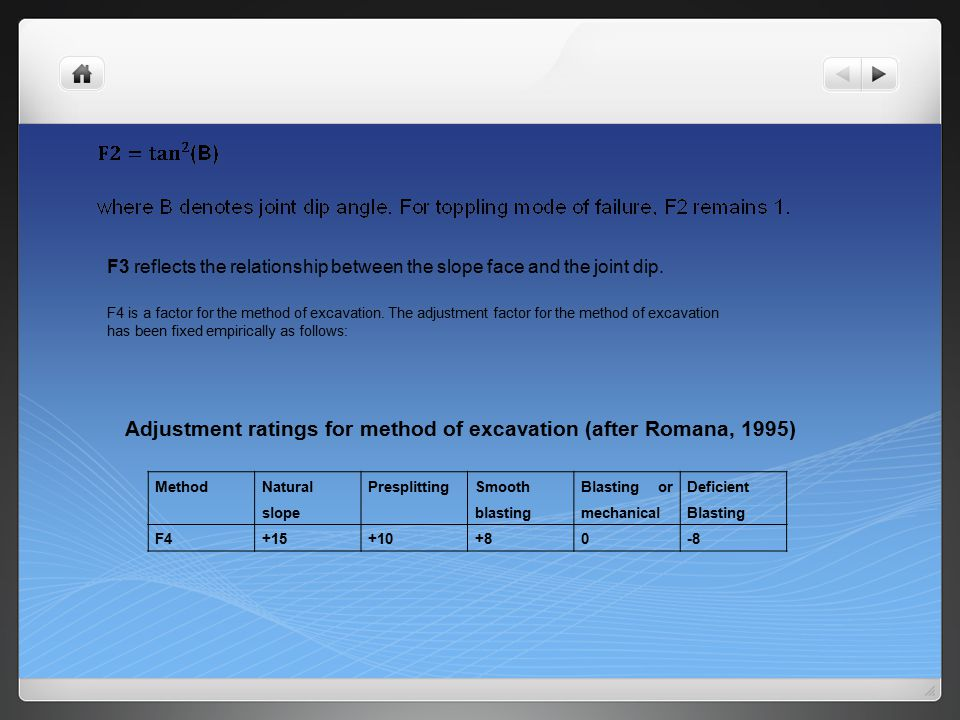 Adjustment ratings for method of excavation (after Romana, 1995)