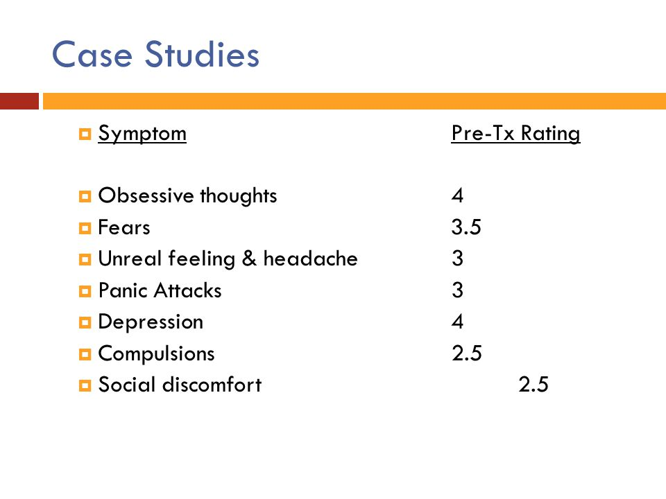 Case Studies Symptom Pre-Tx Rating Obsessive thoughts 4 Fears 3.5