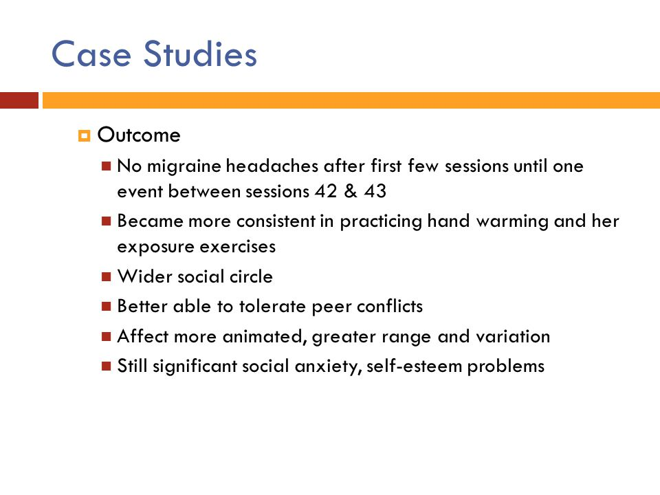 Case Studies Outcome. No migraine headaches after first few sessions until one event between sessions 42 & 43.