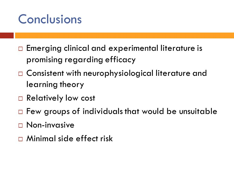 Conclusions Emerging clinical and experimental literature is promising regarding efficacy.