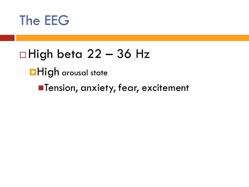 The EEG High beta 22 – 36 Hz High arousal state