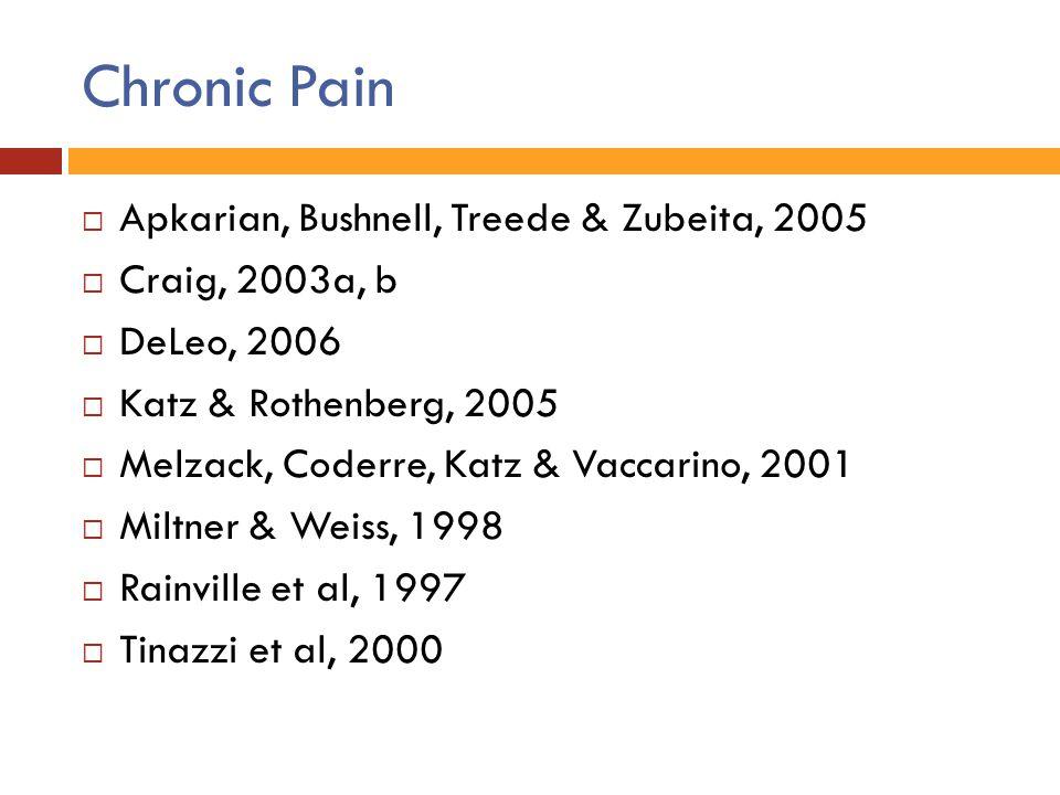 Chronic Pain Apkarian, Bushnell, Treede & Zubeita, 2005