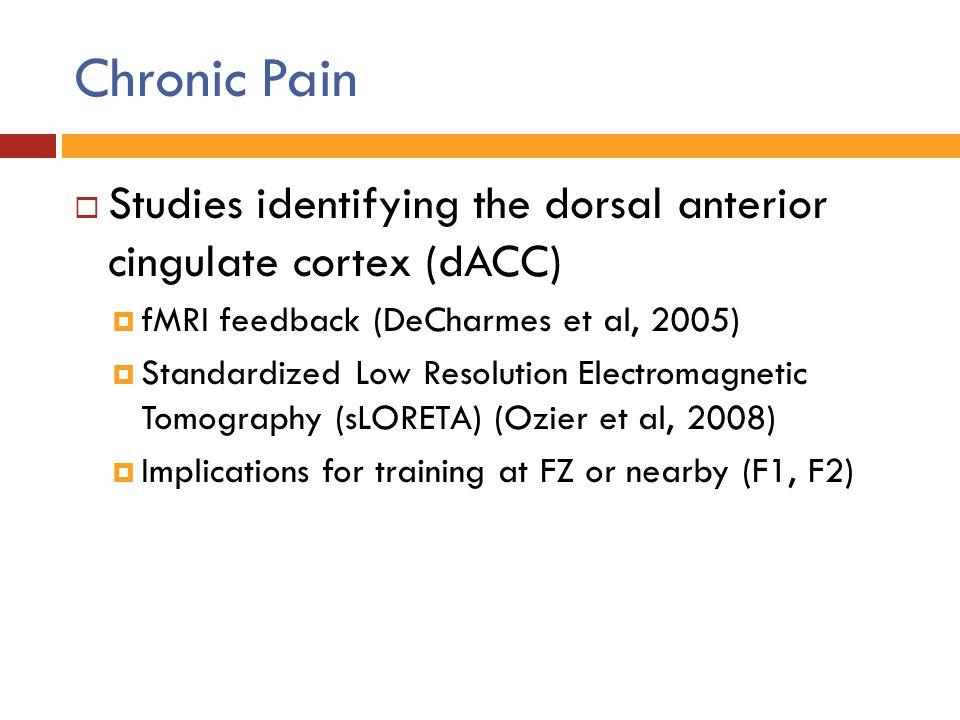 Chronic Pain Studies identifying the dorsal anterior cingulate cortex (dACC) fMRI feedback (DeCharmes et al, 2005)