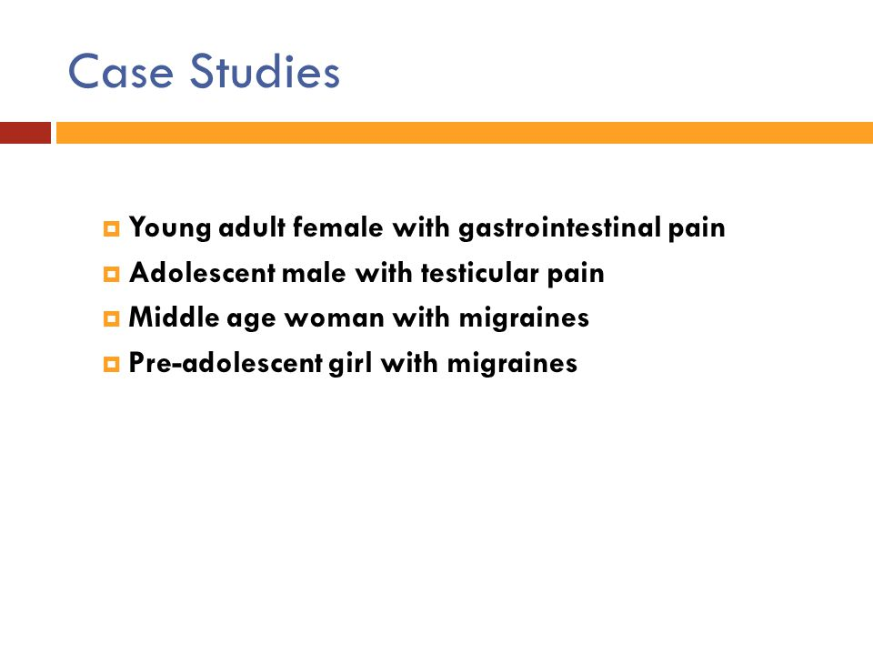 Case Studies Young adult female with gastrointestinal pain
