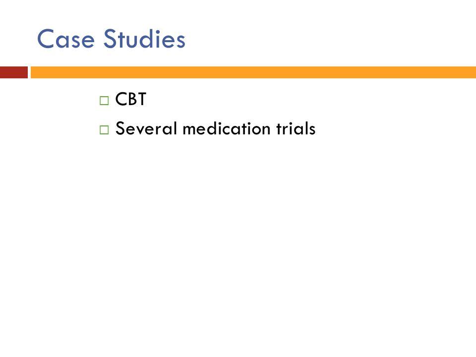 Case Studies CBT Several medication trials